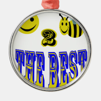 happy 2 bee the best at anything Silver-Colored round ornament