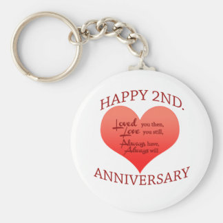Happy 2nd. Anniversary Basic Round Button Keychain