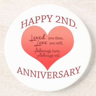 Happy 2nd. Anniversary Drink Coaster
