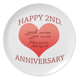 Happy 2nd. Anniversary Plate