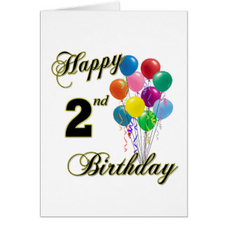 Happy 2nd Birthday Greeting Cards and Post Cards