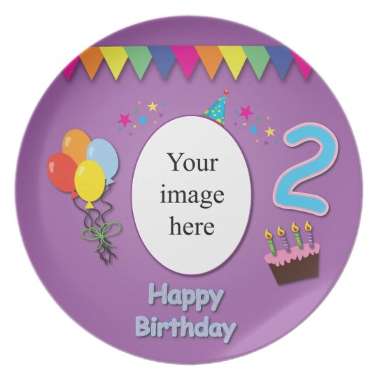 Happy 2nd Birthday Plate with Your Photo