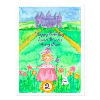 Happy 2nd Birthday Princess Castle Postcard