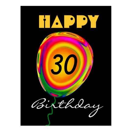 Happy 30Birthday - Colourful Gold Green Red Postcard
