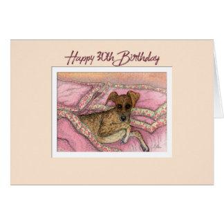 Happy 30th Birthday card, greyhound dog on the bed Card