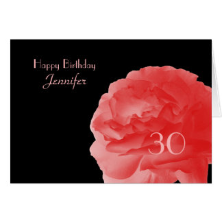 Happy 30th Birthday Greeting Card, Coral Pink Rose Card