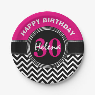 Happy 30th Birthday Pink Monogram Chevron 7 Inch Paper Plate