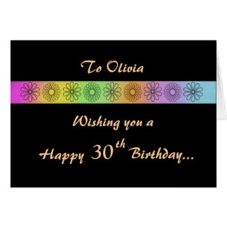 Happy 30th Customizable Birthday Card