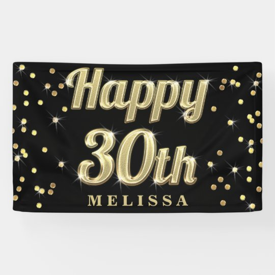 Happy 30th Gold Bling Typography Confetti Black Banner