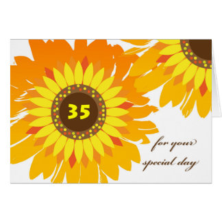 Happy 35th Birthday, Sunflowers Floral Design Card