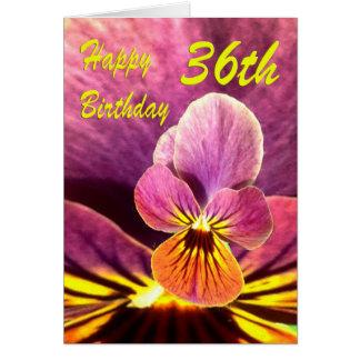 Happy 36th Birthday Flower Pansy Greeting Card