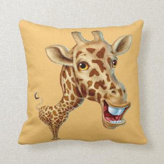 Happy 3D Giraffe Throw Pillow