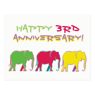 Happy 3rd Anniversary Elephants Silhouette Neon Postcard