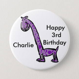 Happy 3rd birthday cartoon (name) dinosaur purple 3 inch round button