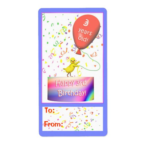 Happy 3rd Birthday Chicken Gift Tag Personalized Shipping Label