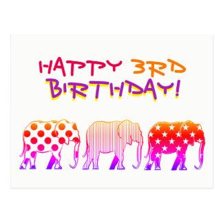 Happy 3rd Birthday Colorful Cartoon Elephants Bold Postcard