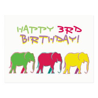 Happy 3rd Birthday Colorful Cartoon Elephants Chic Postcard