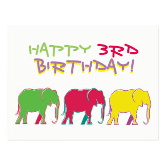 Happy 3rd Birthday Elephants Silhouette Neon Chic Postcard