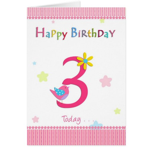 Happy 3rd birthday girl cards