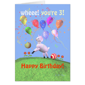 Happy 3rd Birthday Lamb and Balloons Greeting Card