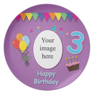 Happy 3rd Birthday Plate with Your Photo