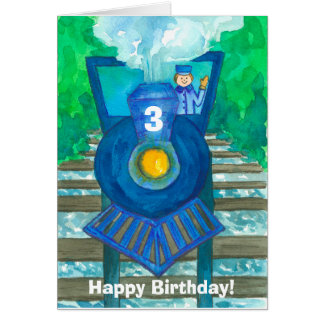 Happy 3rd Birthday Steam Train Custom Card