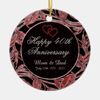 Happy 40th Anniversary Ruby Leaves DBL Sided Round Ceramic Ornament