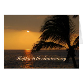Happy 40th Anniversary Tropical Sunset Greeting Card