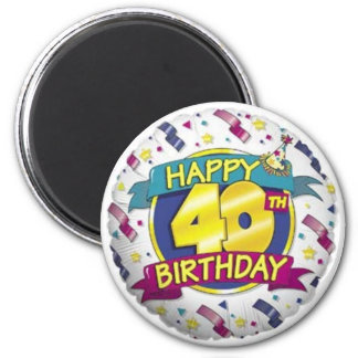 Happy 40th Balloon Magnet