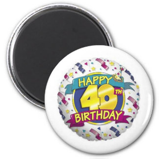 Happy 40th Balloon Refrigerator Magnet