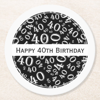 """Happy 40th Birthday"" Black/White Party Theme Rnd Round Paper Coaster"
