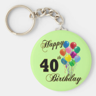 Happy 40th Birthday Gifts and Birthday Apparel Keychain