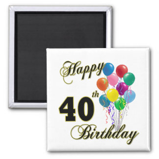Happy 40th Birthday Gifts and Birthday Apparel Fridge Magnet