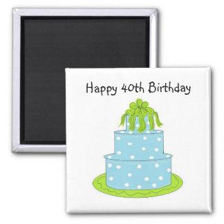Happy 40th Birthday Square Magnet