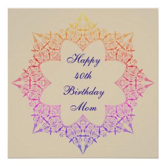 Happy 40th Birthday Mom Perfect Poster