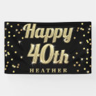 Happy 40th Gold Bling Typography Confetti Black Banner