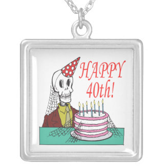 Happy 40th silver plated necklace