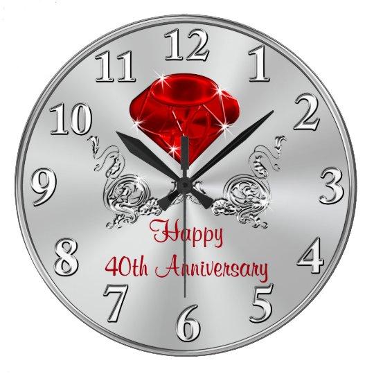 Happy 40th Wedding Anniversary Gifts Clock Zazzle Ca