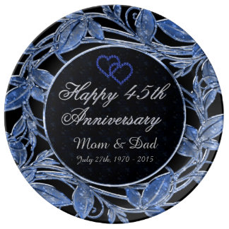 Happy 45th Anniversary Sapphire Metallic Leaves Porcelain Plates