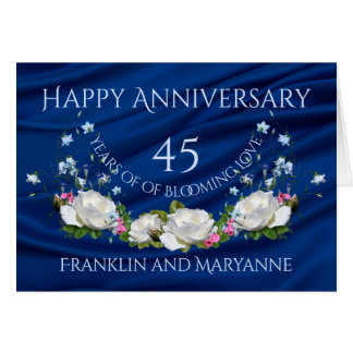 Happy 45th Anniversary White Roses Sapphire Card