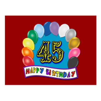 Happy 45th Birthday Balloon Arch Postcard