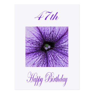 Happy 47th Birthday purple Blossom Postcard