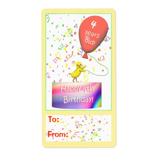 Happy 4th Birthday Chicken Gift Tag