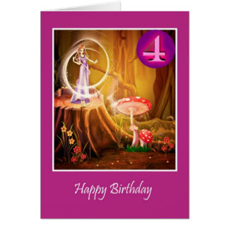 Happy 4th Birthday for girl with fairy fourth Card