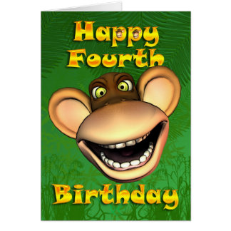 Happy 4th Birthday Monkey Banana Card