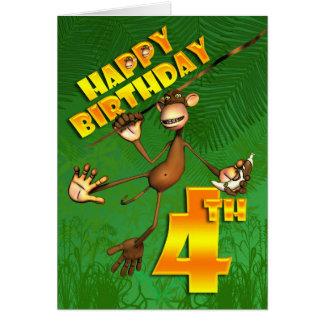 Happy 4th Birthday Monkey Banana Card