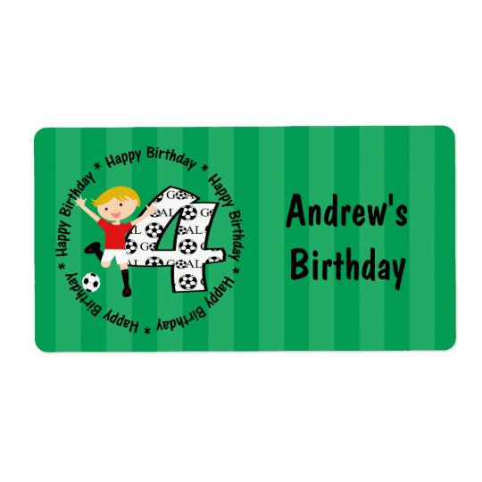 Happy 4th Birthday Round Soccer Goal Labels