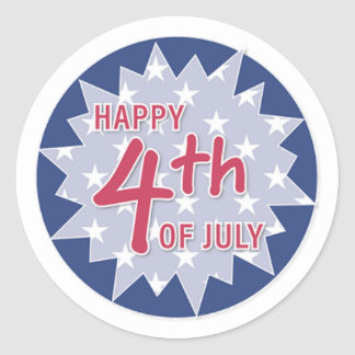Happy 4th, Blue and Red Classic Round Sticker