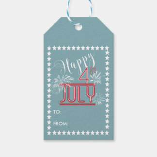 Happy 4th Fireworks ID185 Pack Of Gift Tags