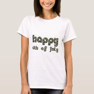 Happy 4th of July Army Camouflage Typography T-Shirt